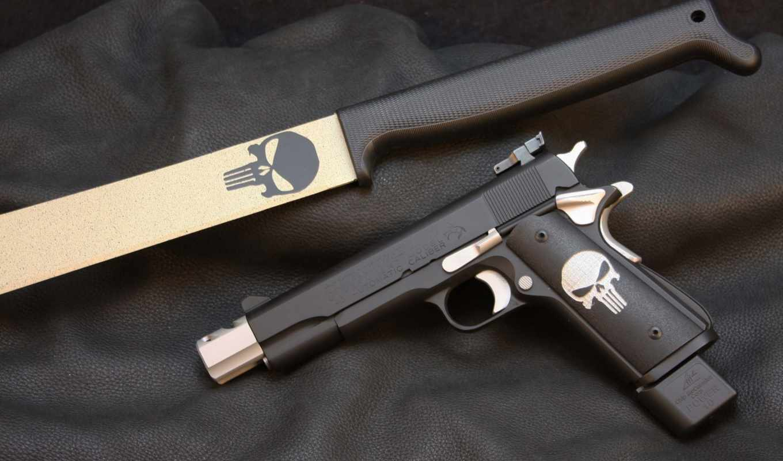 punisher, colt, pistol, нож, акпп, золотистый, ковёр, sake, logo, пистолет, customization