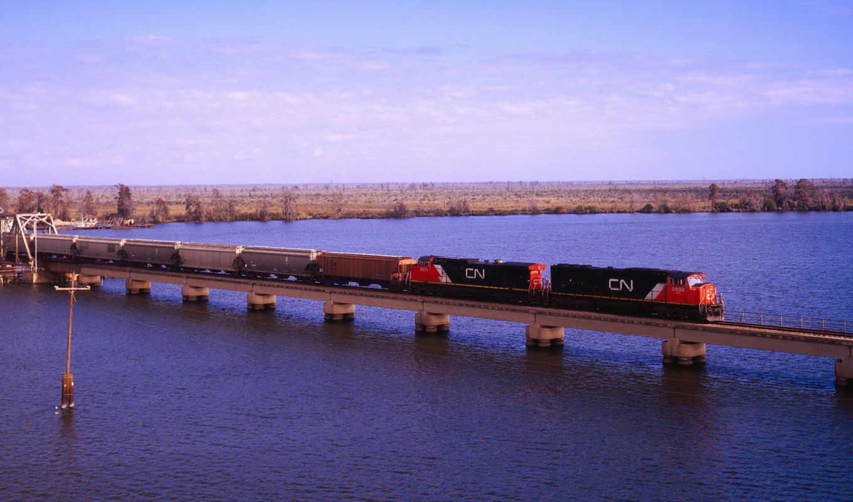 река, мост, локомотив, автомобили, manchac, машины, поезд,