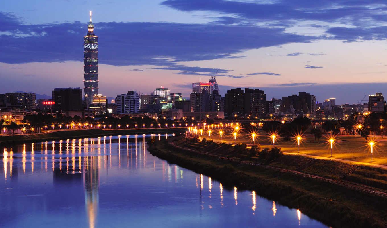 taipei, нов, china, taiwan, вечер, город, марта,