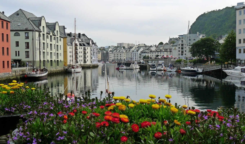 норвегия, города, картинка, причал, корабли,