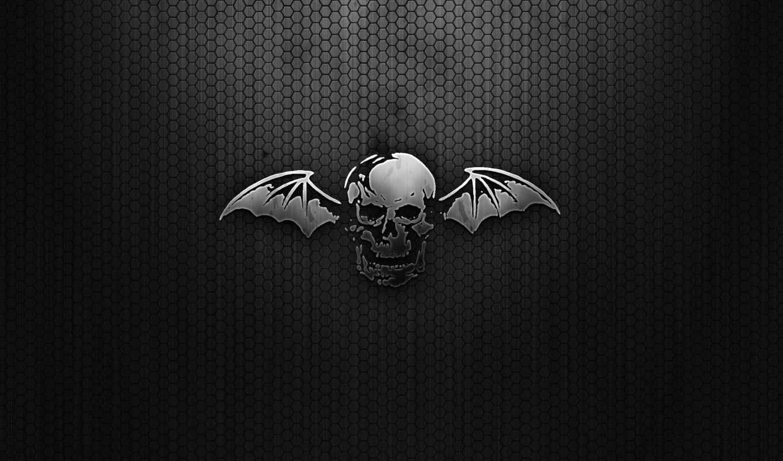 sevenfold, avenged, черный, череп, сетка, крылья, art, music, download, картинка, desktop, wide,