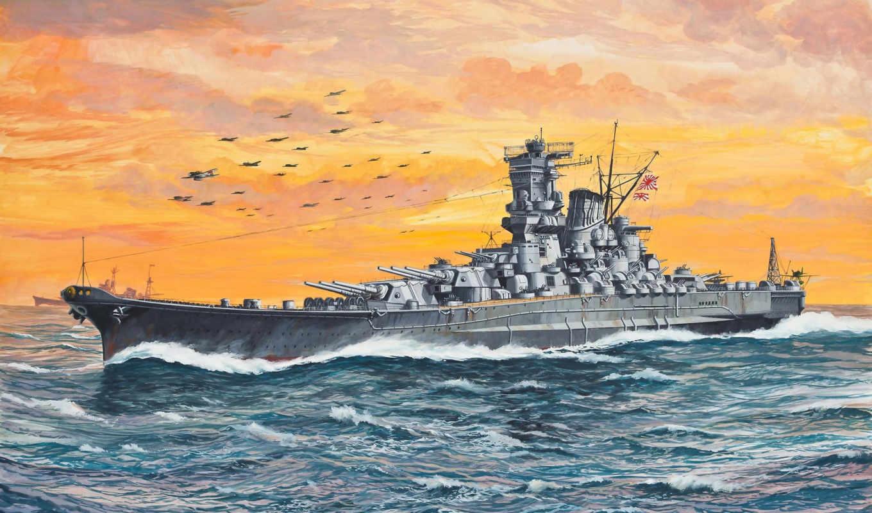 корабль, флот, линейный, японского, смотрите,