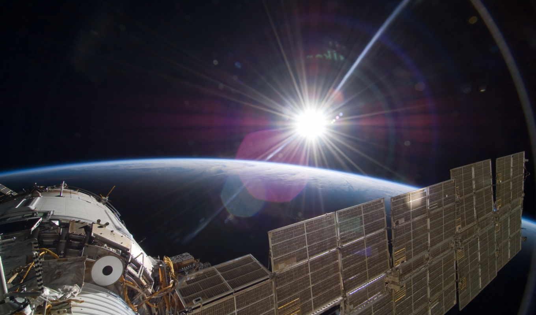 солнце, земля, свет, международная, станция, космическая, картинку,