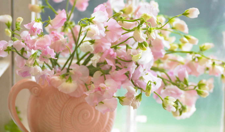 цветы, вазе, букет,