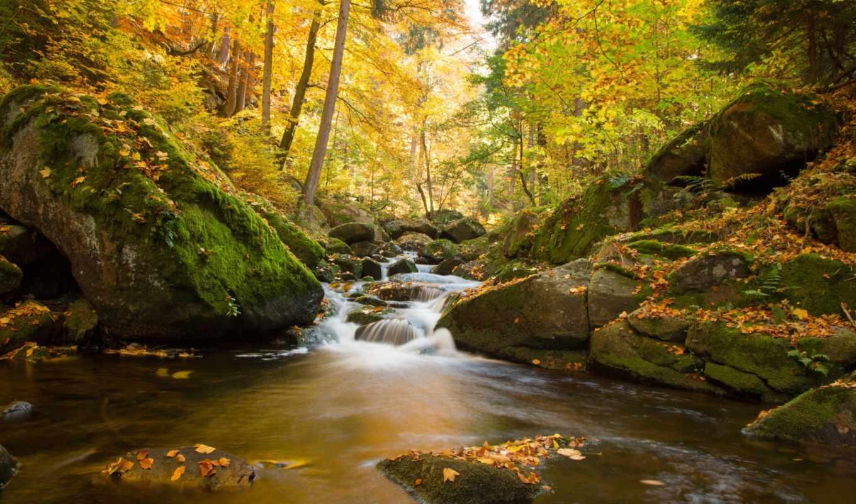 осень, papéis, parede, pozadine, скалы, desktop, река, landscape, камни,