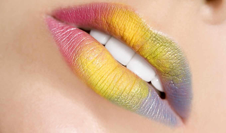 разноцветные, губы, помада, макро, краска,