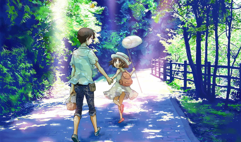 boy, девушка, summer, радость, лес, прогулка,