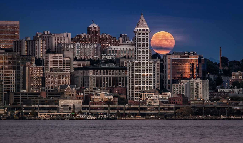 ночь, луна, seattle, природа, город, дома, usa, сиэтле, спорт,