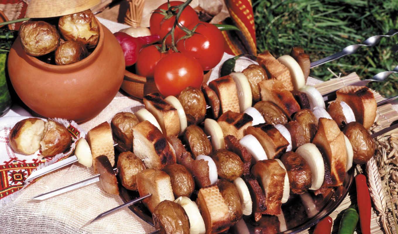 хлеб, мясо, барбекю, просто, вкусно, шашлык, после,