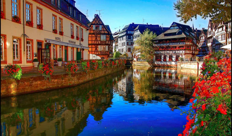 strasbourg, france, река, desktop, канал, corner,