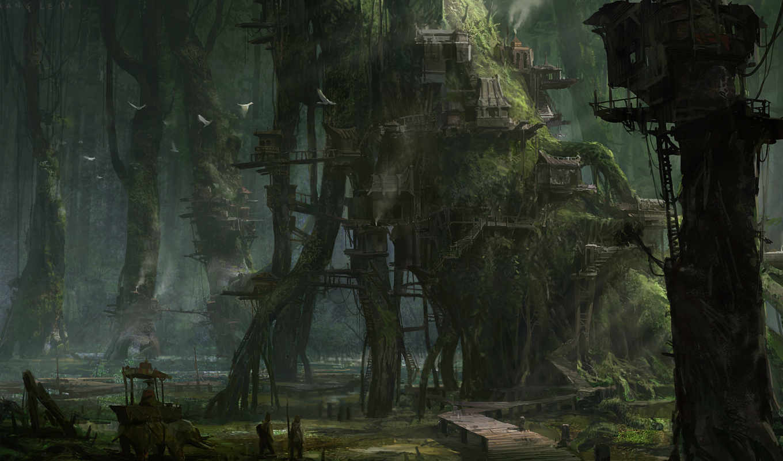 деревья, птицы, дома, люди, слон, мост, туман, мох, khang le, гуашь, рисунки, футуристика.,