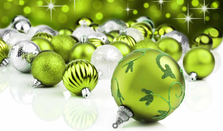 шары, зеленые, новый, год, праздник, елочные, блеск, christmas, узоры, серебряные, блестки, picture, праздничные, новогодние,