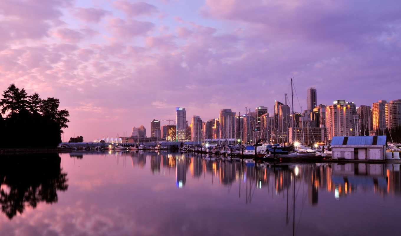 рассвет, город, vancouver, канада, облака, здания,