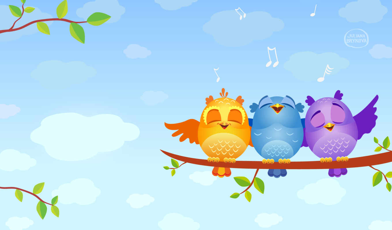 графика, птицы, совята, векторная, ноты, branch, oblaka, небо, песнь,