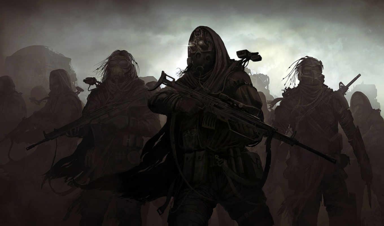 отряд, оружие, винтовка, туман, войны, солдаты, тёмные, картинка, картинку, кнопкой, мыши, вернуться,