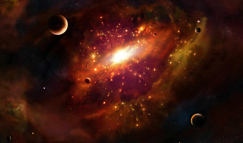 космос, галактика, планеты, свет, центр, туманность, система, космоса,