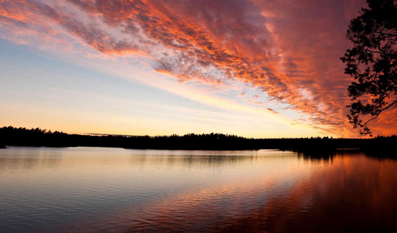 закате, природы, разрешениях, разных, красоты, перистые, великолепные, со,