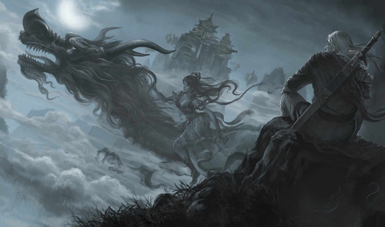 фэнтези, драконы, воители, devushki,