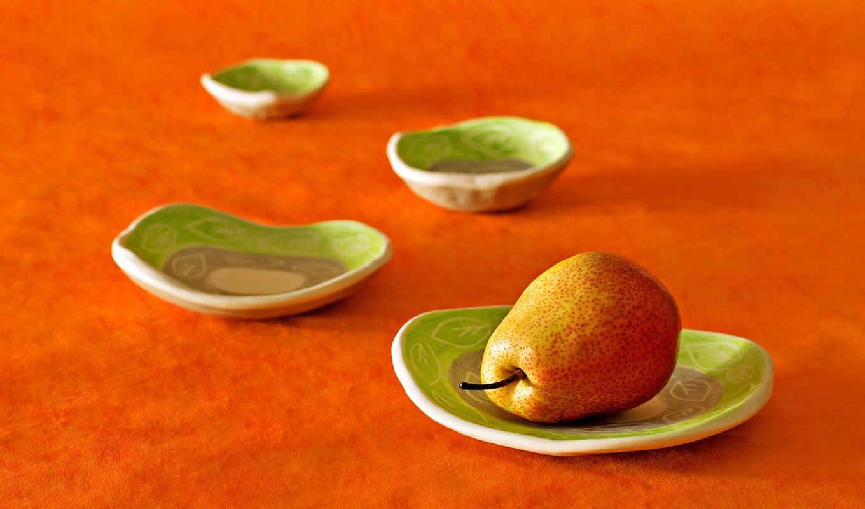 груша, тарелки, плод, скатерть, оранжевая, взгляд, макро, желтая, еда, зеленые,
