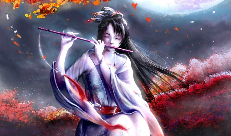 музыка, этническая, скрипка, флейта, японская, комментарии, слушали, сторона, осень,