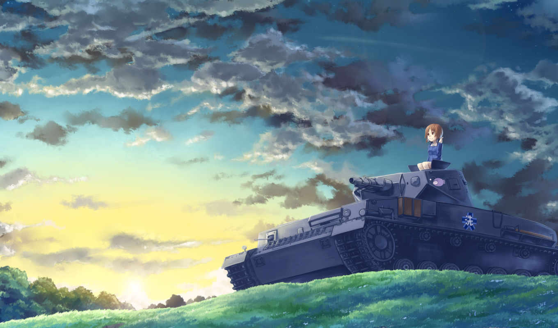 girls, panzer, und, танки, art, anime, nishizumi, devushki, михо,