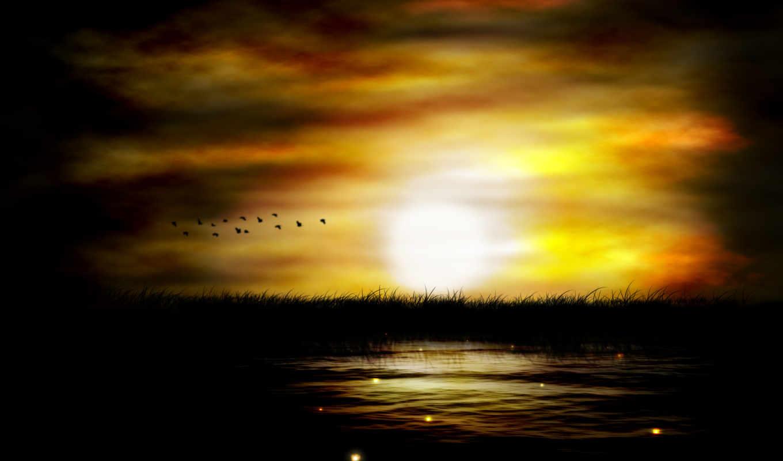 закат, вечер, природа, sun, landscape, птицы, река, рисунок, небо,