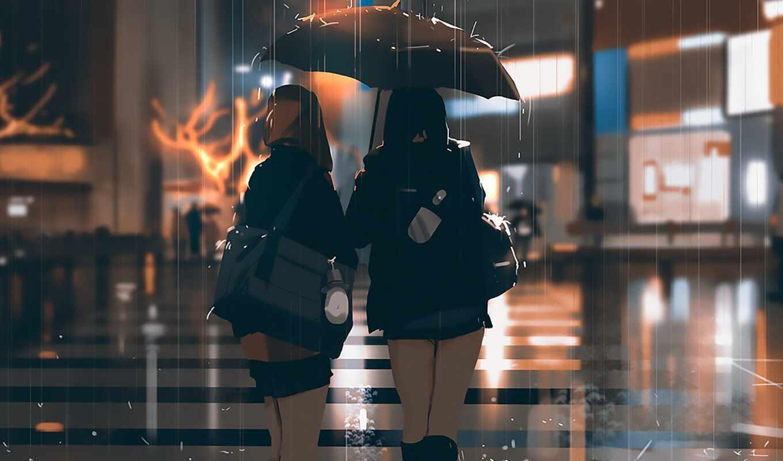 дождь, anime, девушка, hiphop, art, лицо, зонтик, engine, hop, хип, beat