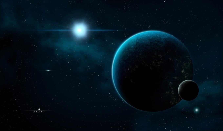космос, звезды, спутник, планета, сияние, тьма, картинка, moon,