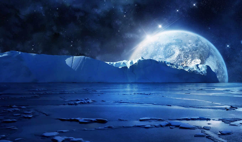 льды, море, ночь, вода, льдины, лед, картинка, картинку,