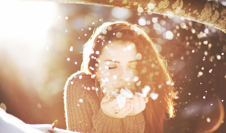 снег, девушка, солнце, засветило