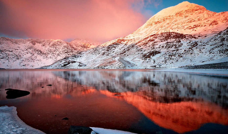 горы, озеро, снег, небо, природа, облака, отражение, гора, mount,