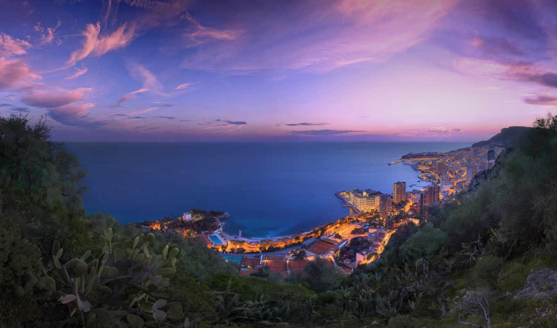 море, берег, побережье, город, monaco,