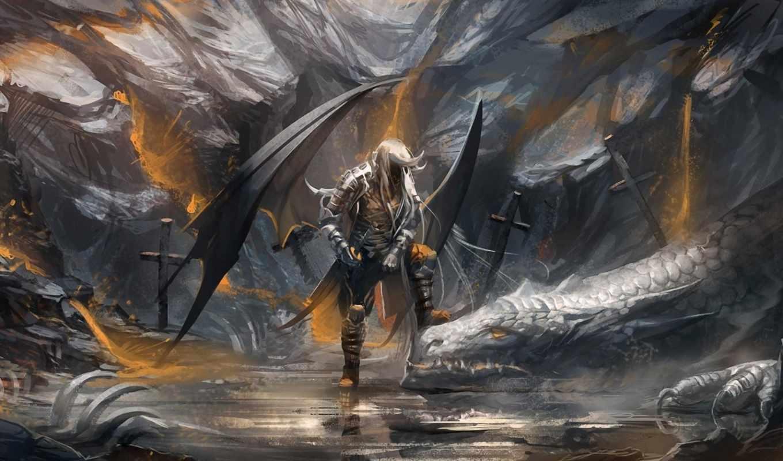 дракон, art, меч, кресты, воин, кости, драконы, sakimichan,