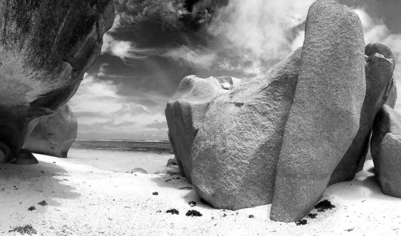 чёрно, белые, more, белое, фотографий, скалы,