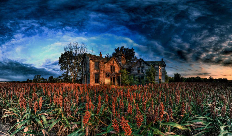 wallpapers, поле, дом, wallpaper, облака, sky, развалены, storm, farm, nature, coming, facebook, hd,