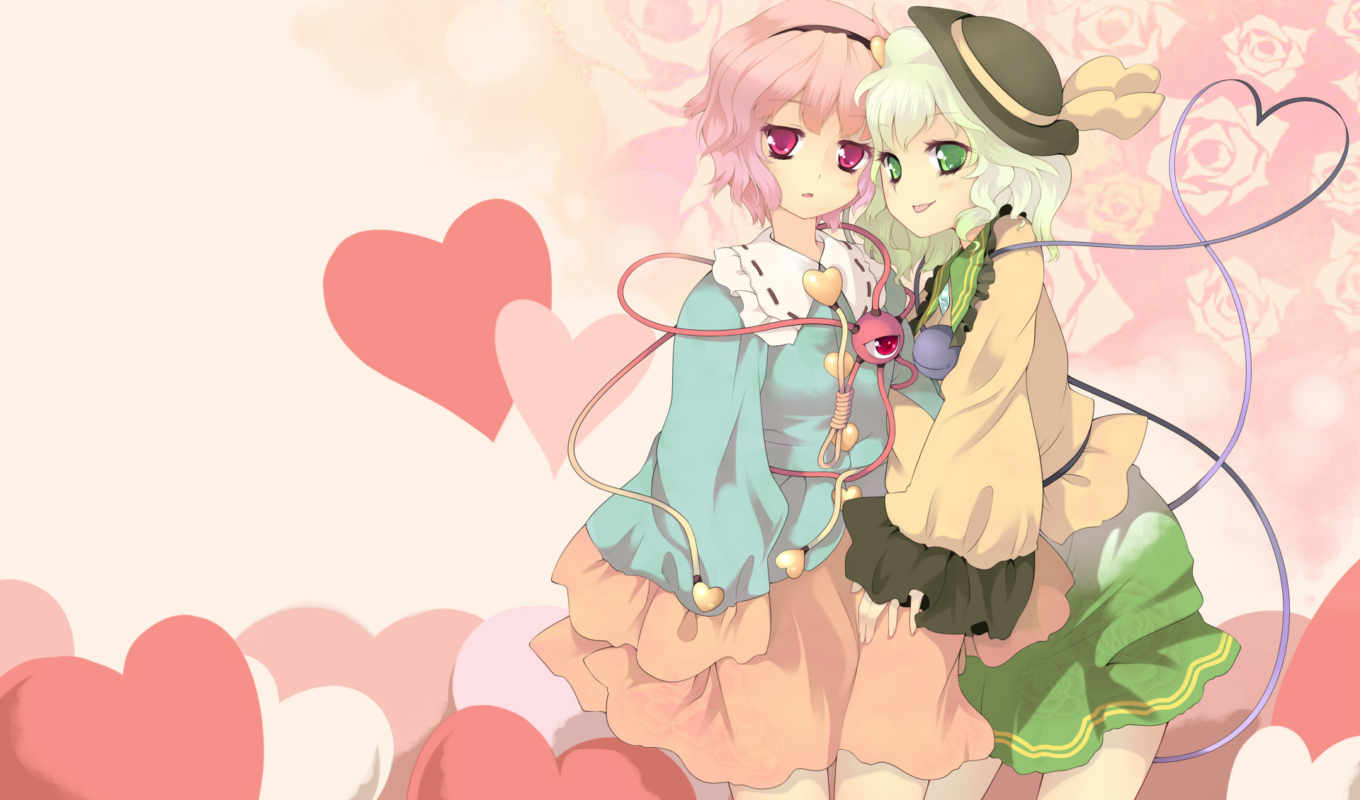 komeiji, hair, eyes, heart, jungetsu, hoko, koishi, hat, green, tags, post, satori, hairband, pink,