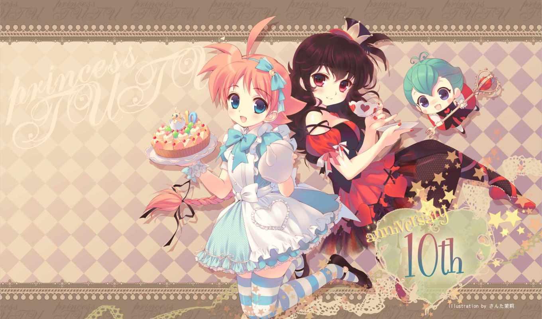 blue, eyes, hair, princess, tutu, ahiru, rue, anime, braids, blush, uzura,