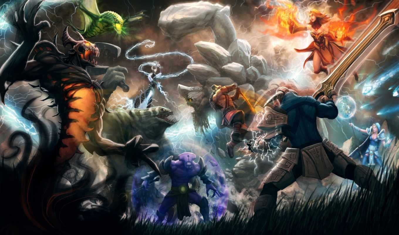 dota, магия, герои, монстры, оружие, битва, warcraft, free, games, картинка,