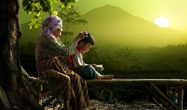 утро, бабушка, мальчик, джунгли, гора, лавка