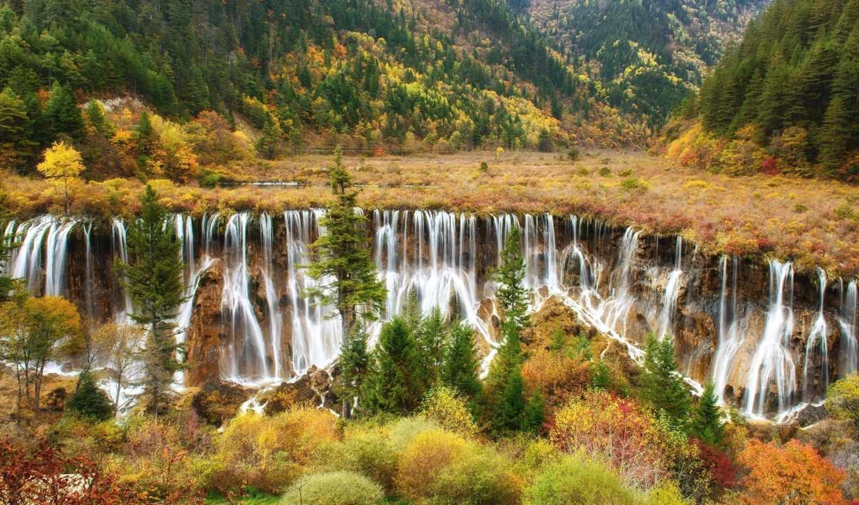priroda, водопад, cascades, горы, les, скалы, krasivo,