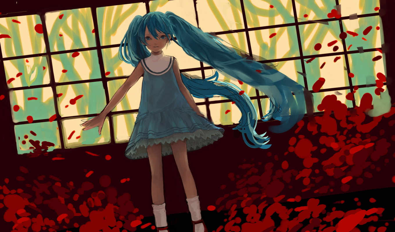 вокалоид, miku, hatsune, art, платье, vocaloid, anime, девушка,