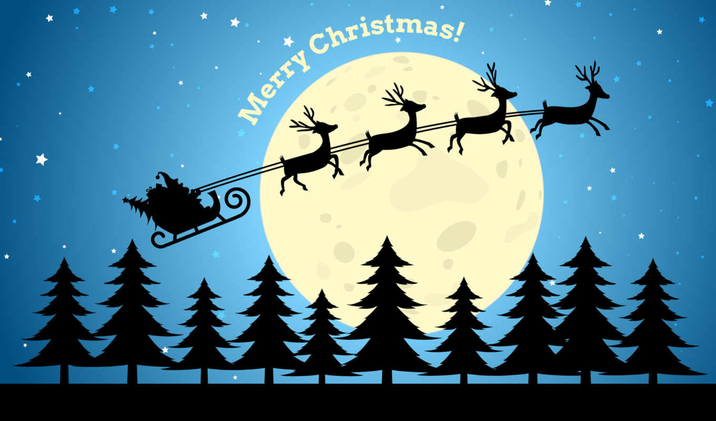new, год, санта, sledge, клаус, рисунок, снег, christmas, winter, елки,