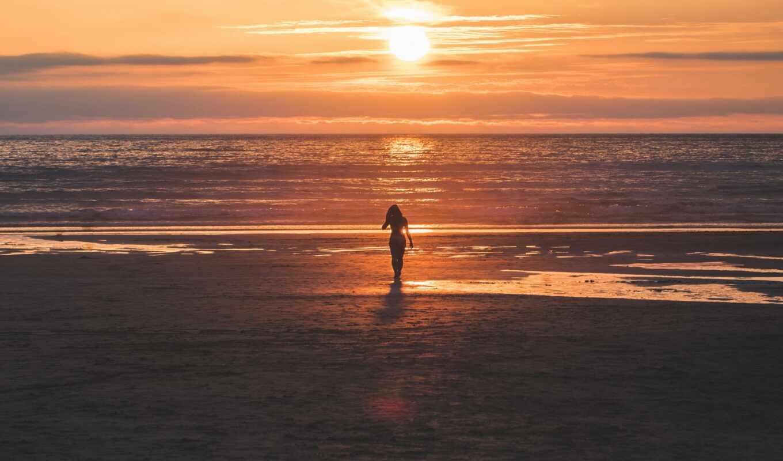 пляж, закат, девушка, силуэт, женщина, во, stand, море