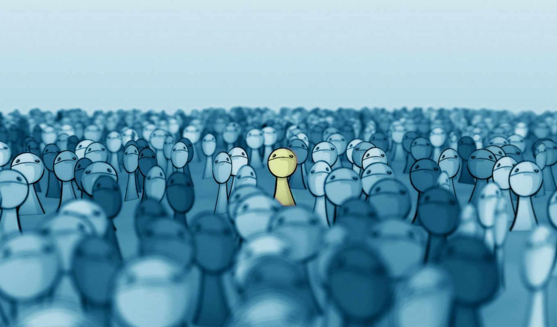 толпа, лица, выделяется, желтый, face, deviantart, smashmethod, картинка,