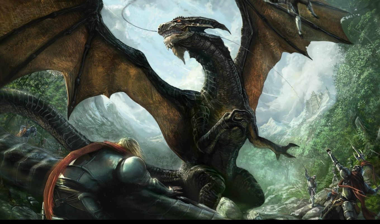дракон, люди, битва, картинку, картинка, cave, мыши, fantasy, кнопкой, big, tags, так, же,