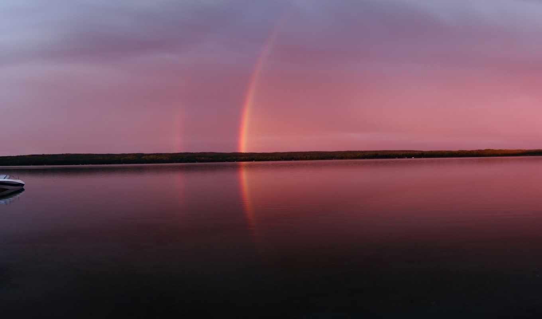 радуга, закате, лодка, озеро, вечер,