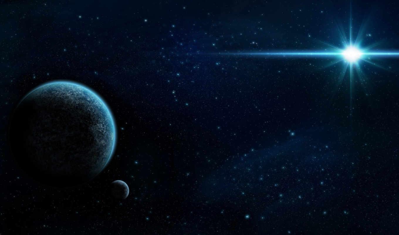 звезда, планеты, космос, звезды, арт, спутник,