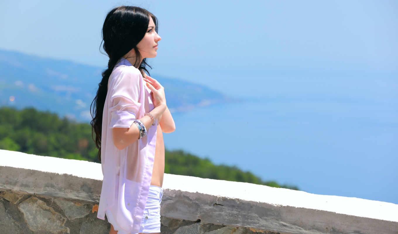 profile, девушки, длинноволосая, девушка, брюнетка, рубашка, браслеты, море, ветер, waiting, boyfriend,