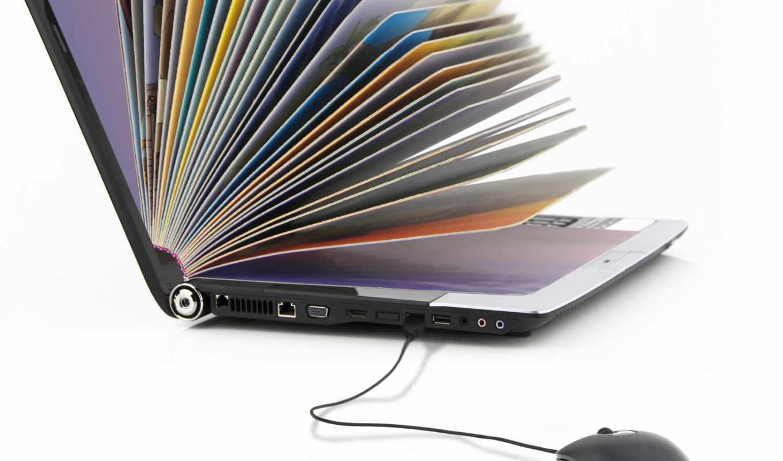 ноутбук, блокнот, мышь, funny