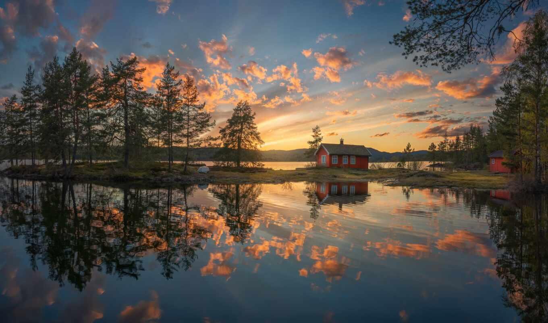 norwegian, норвегия, ringerike, озеро, отражение, ole, house, tapety, закат